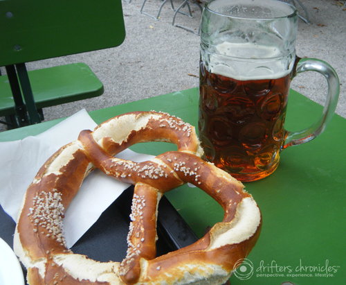 Giant pretzel and beer.