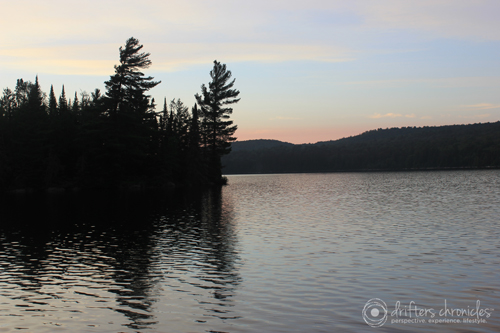 An evening view of Burnt Island Lake from the campsite.