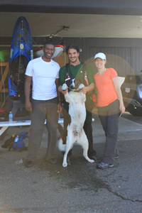 TJ and his dog Sawyer, Andrew and I